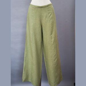 Women's wide leg FLAX pants petite NWT olive